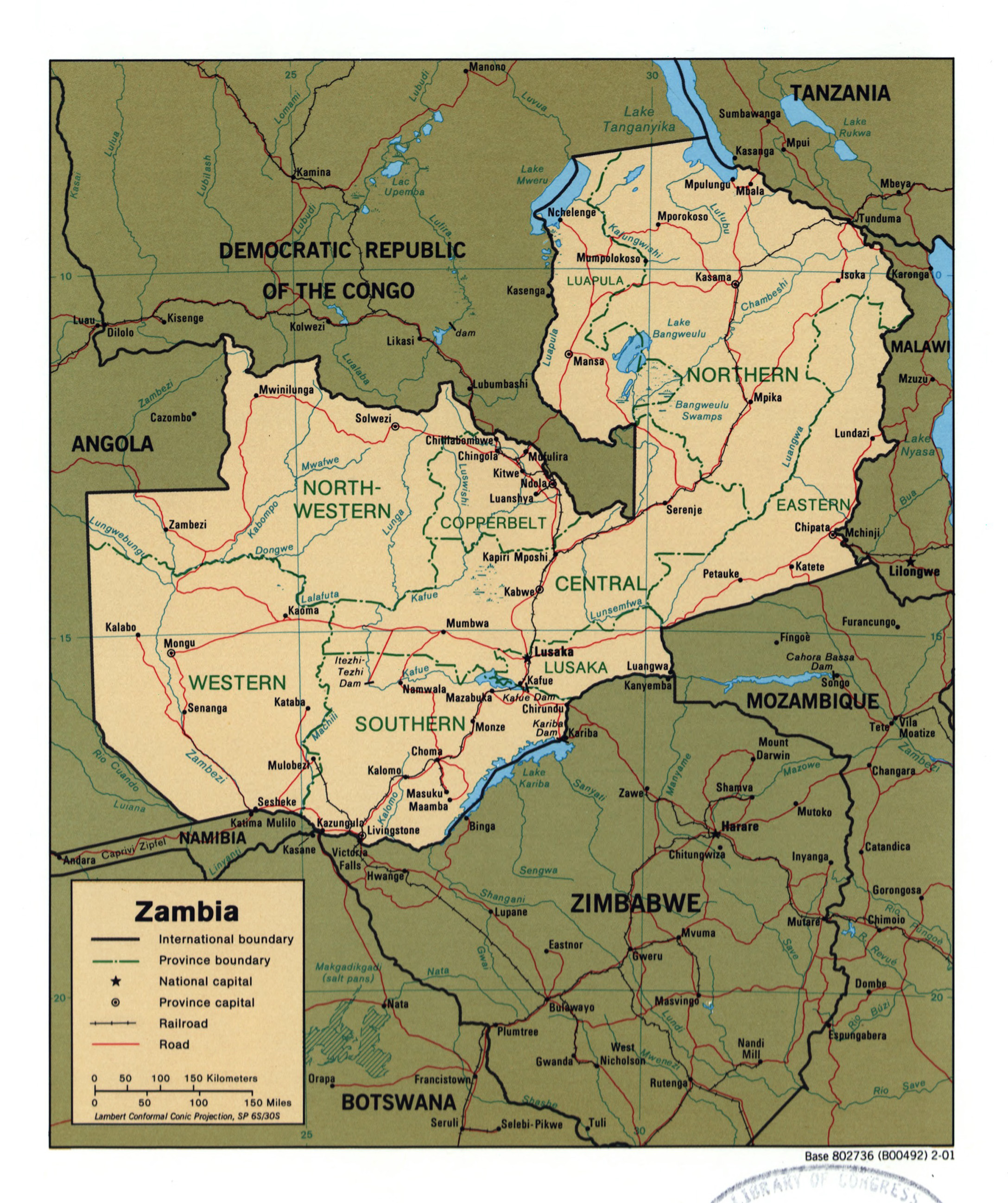 Large detailed political and administrative map of Zambia with roads