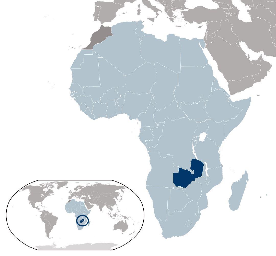 Large location map of Zambia | Zambia | Africa | Mapsland ...