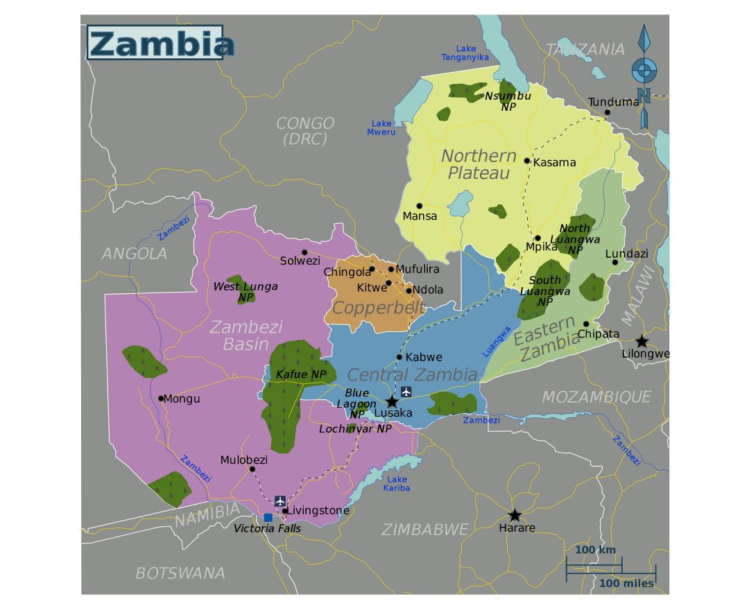 Large regions map of Zambia
