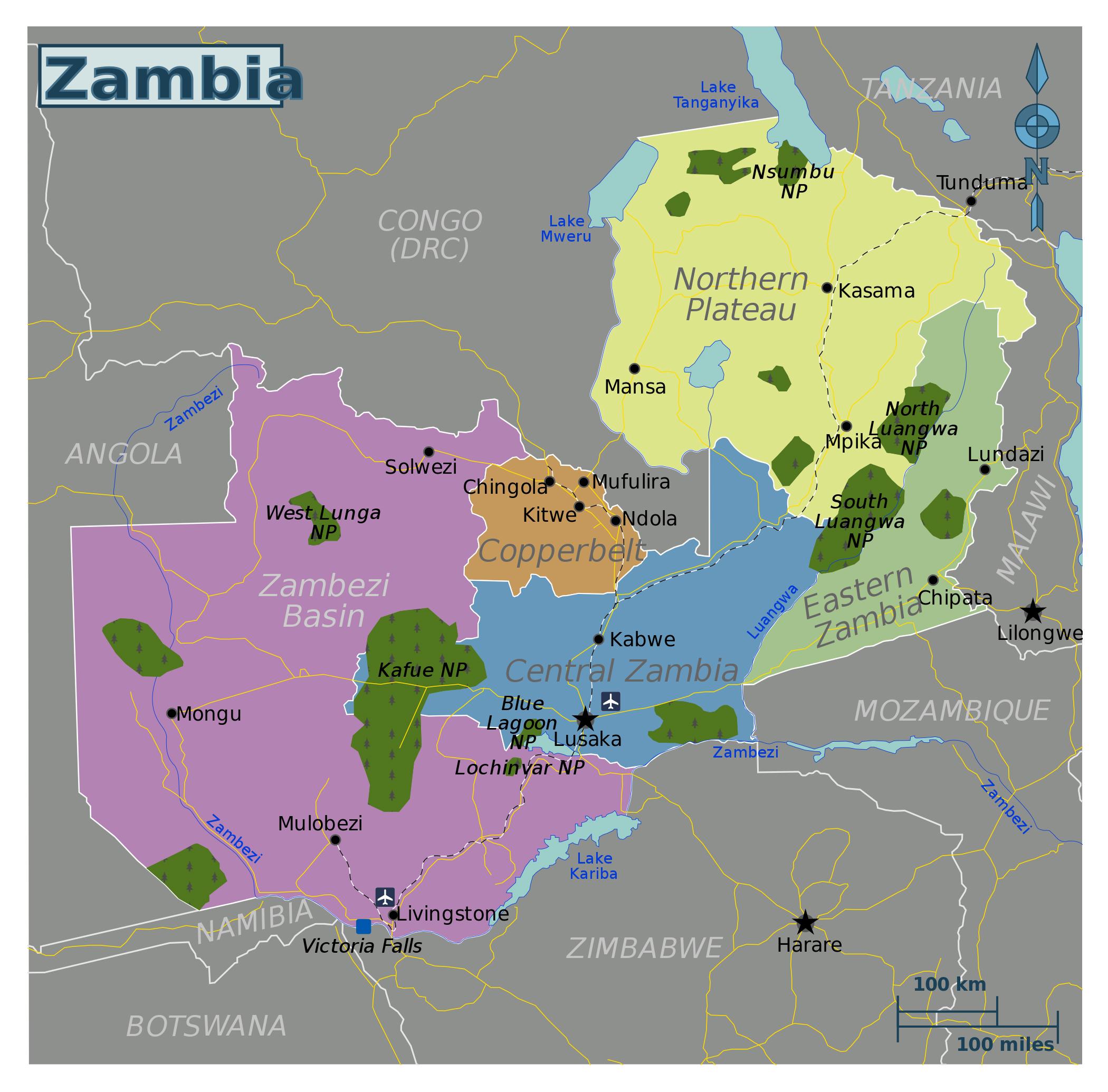 Large regions map of Zambia | Zambia | Africa | Mapsland ...