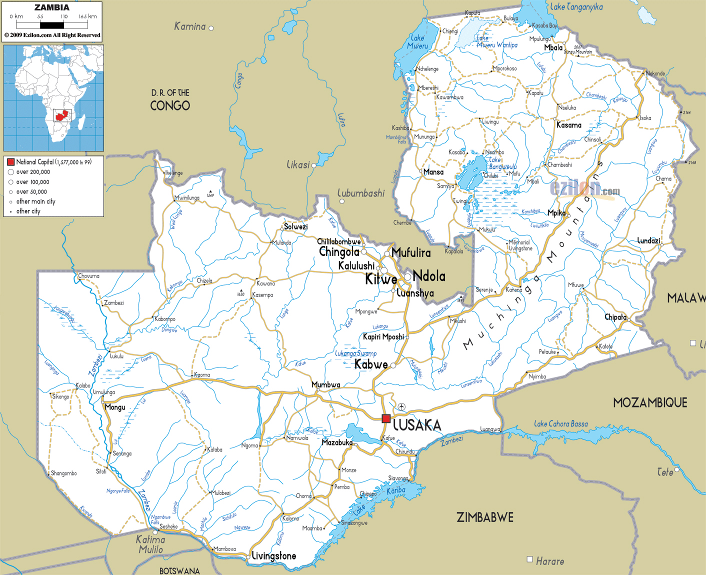 Large Road Map Of Zambia With Cities And Airports Zambia - Where is zambia
