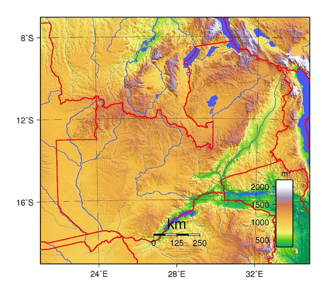Large topographical map of Zambia