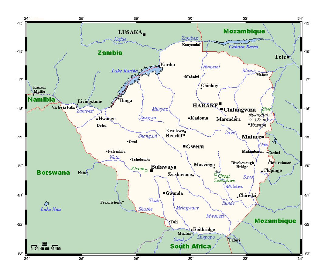 Detailed map of Zimbabwe with all cities