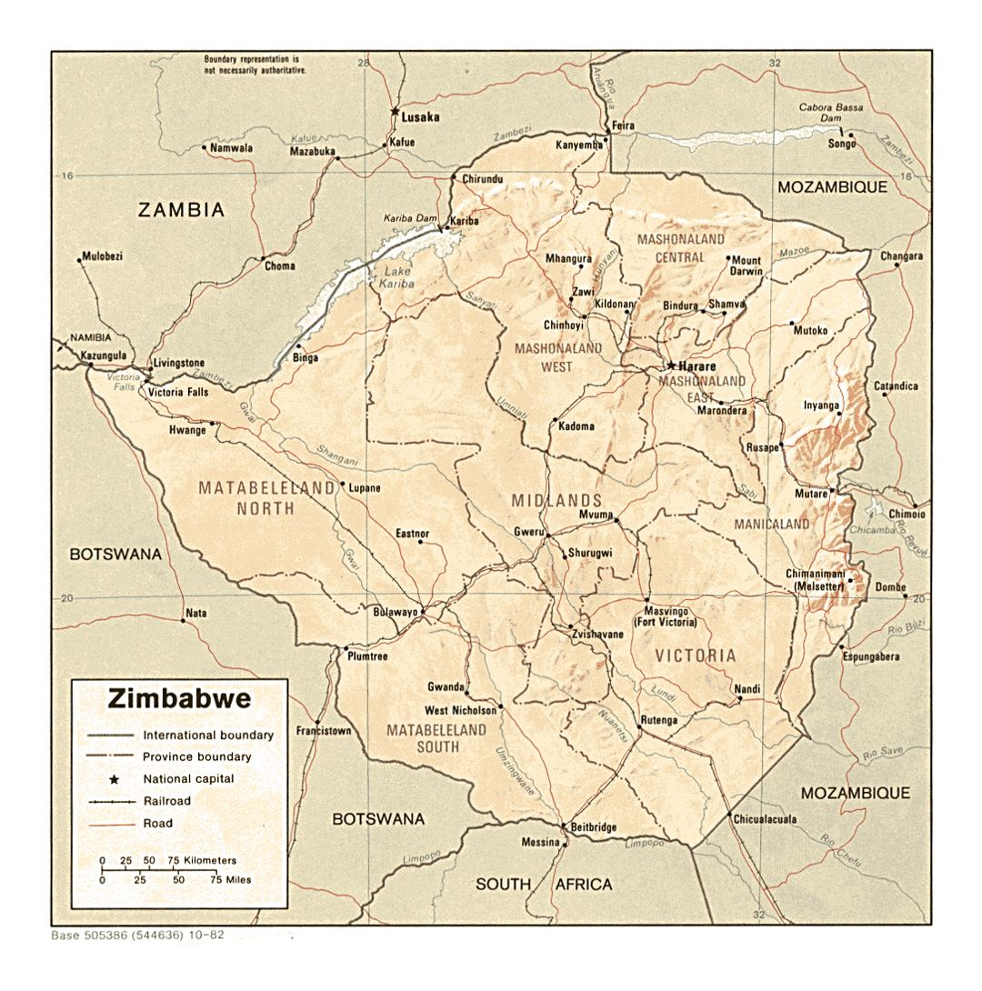 Detailed political and administrative map of Zimbabwe with relief, roads, railroads and major cities - 1982