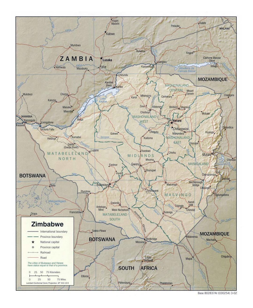 Detailed political and administrative map of Zimbabwe with relief, roads, railroads and major cities - 2002