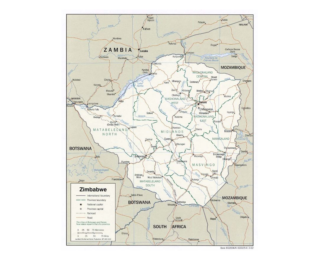 Detailed political and administrative map of Zimbabwe with roads, railroads and major cities - 2002