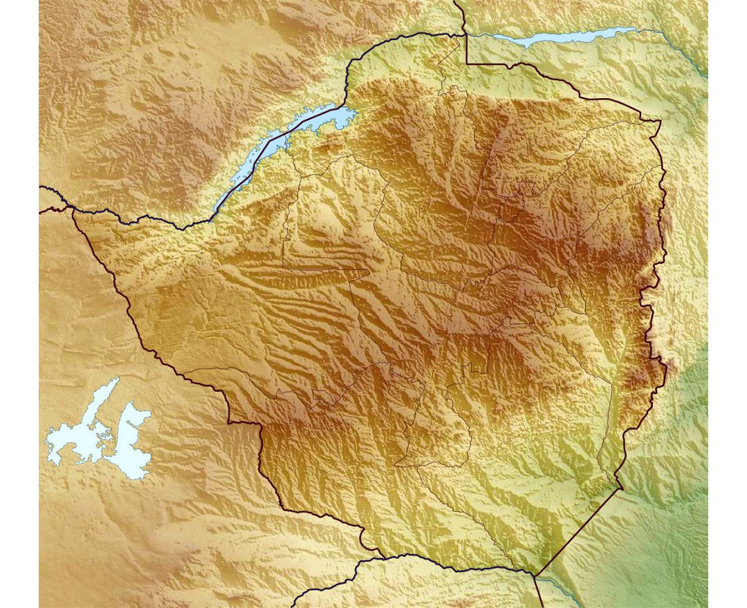 Detailed relief map of Zimbabwe