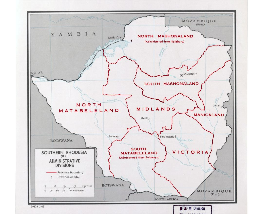 Large detailed administrative divisions map of Southern Rhodesia (Zimbabwe) - 1969