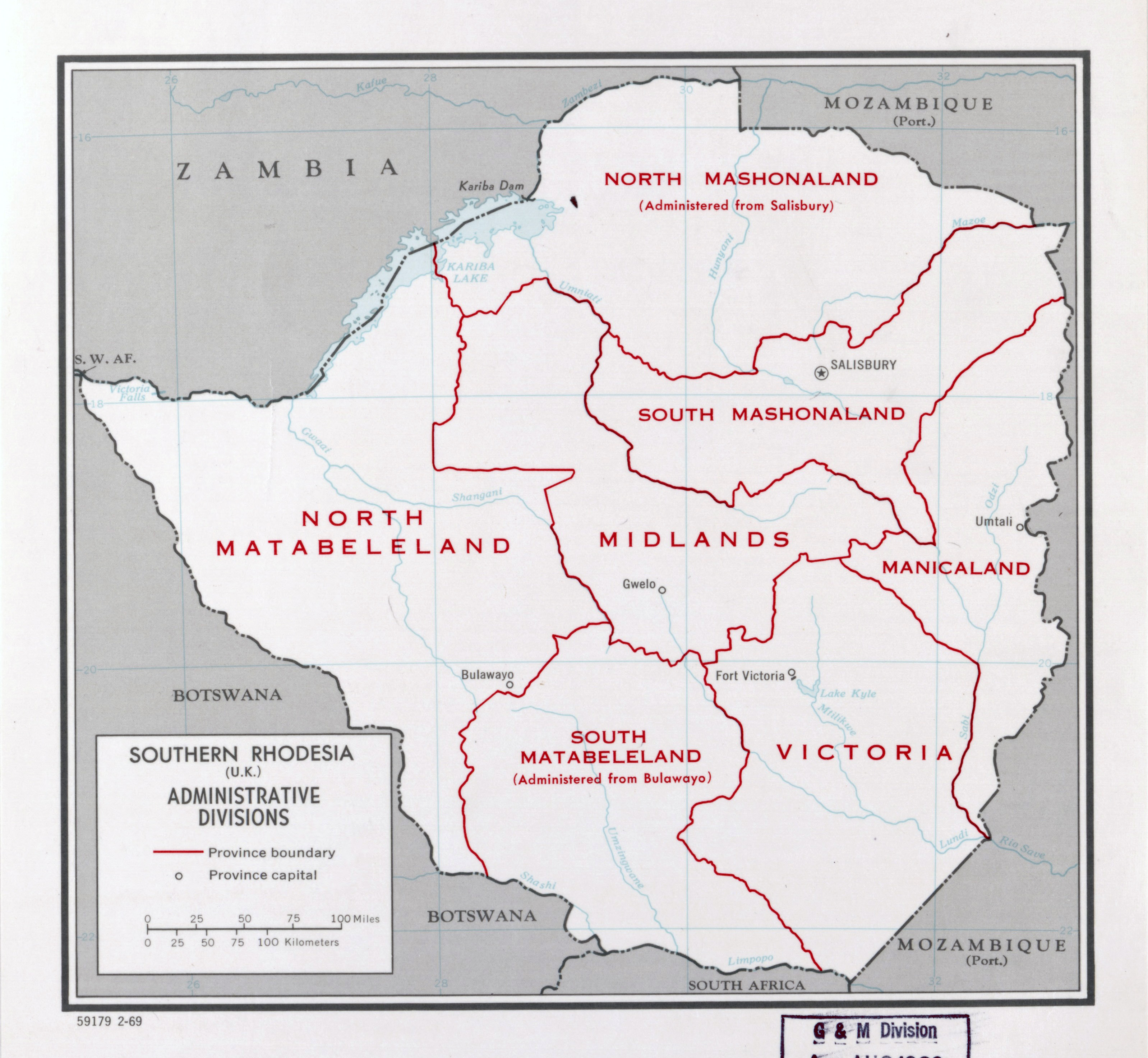 Large detailed administrative divisions map of Southern Rhodesia