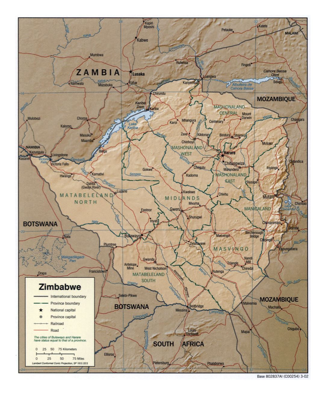Large detailed political and administrative map of Zimbabwe with relief, roads, railroads and major cities - 2002