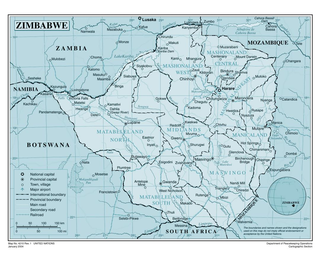 Large detailed political and administrative map of Zimbabwe with roads, railroads, all cities and airports