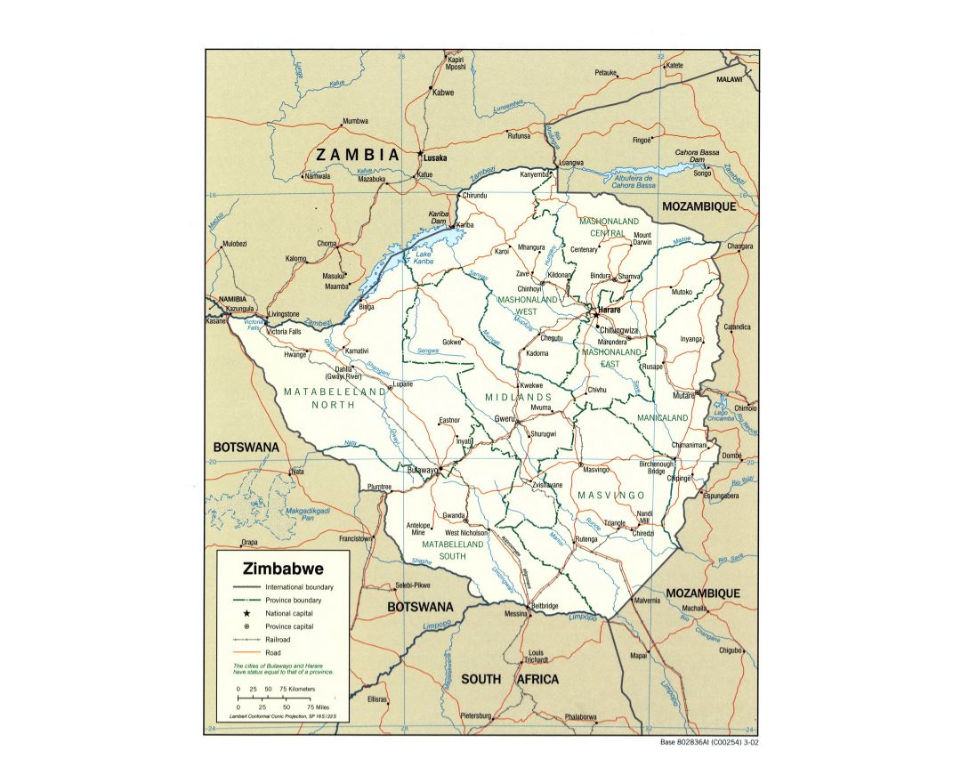 Large detailed political and administrative map of Zimbabwe with roads, railroads and major cities - 2002