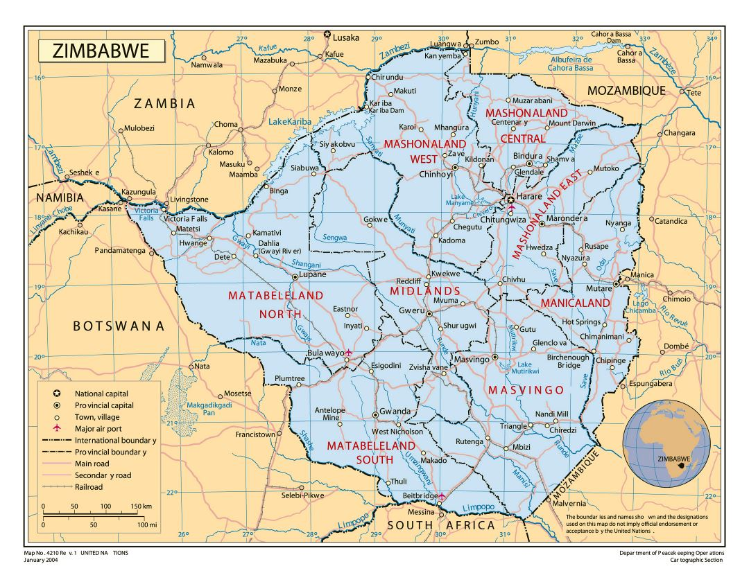 Large detailed political and administrative map of Zimbabwe with roads, railroads, cities and airports