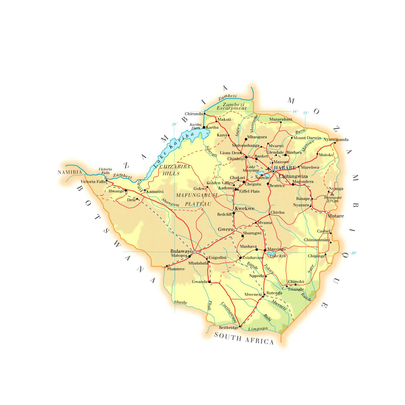 Large elevation map of zimbabwe with roads railroads cities and large elevation map of zimbabwe with roads railroads cities and airports gumiabroncs Image collections