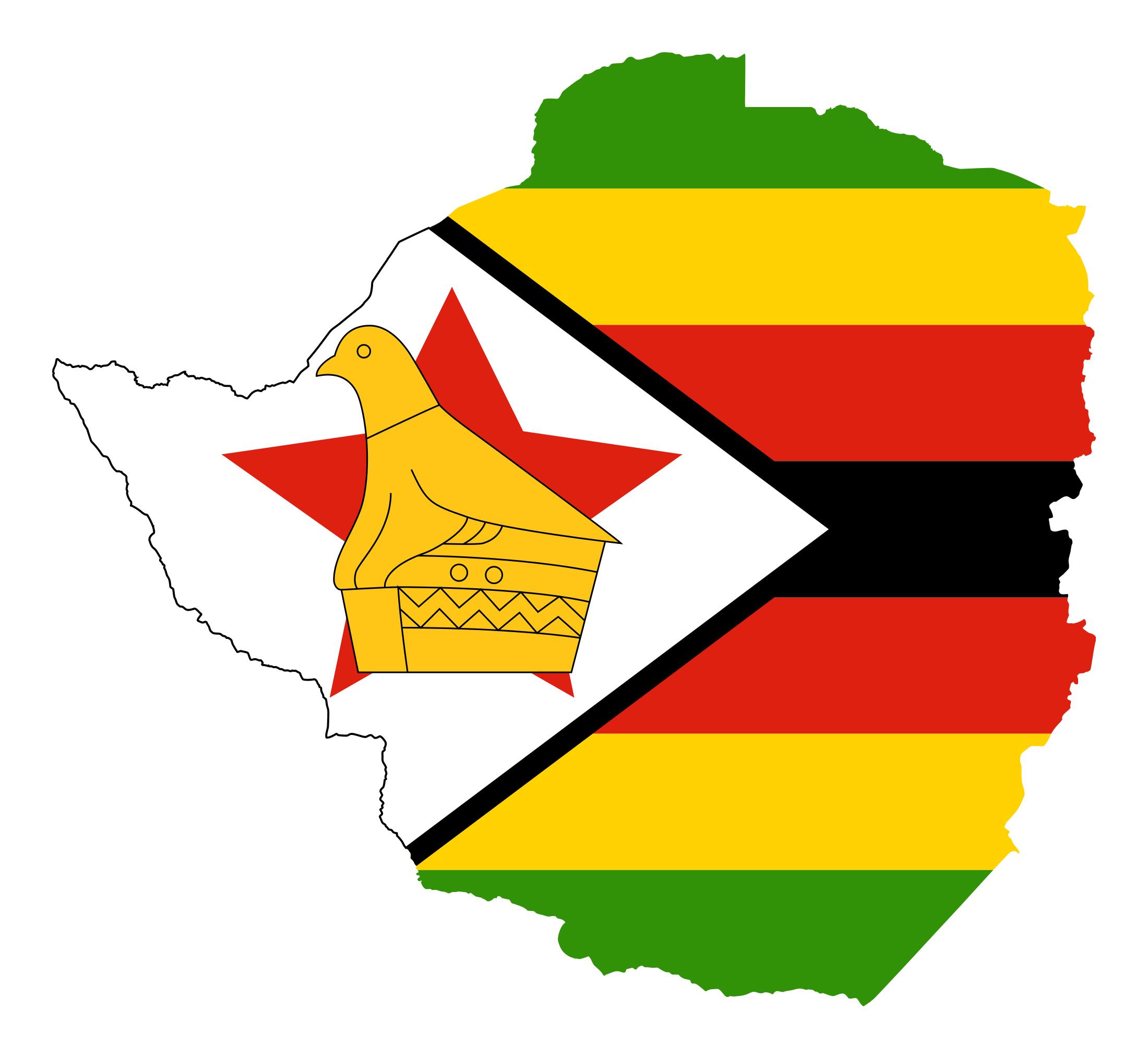 Flag Map Of Africa.Large Flag Map Of Zimbabwe Zimbabwe Africa Mapsland Maps Of