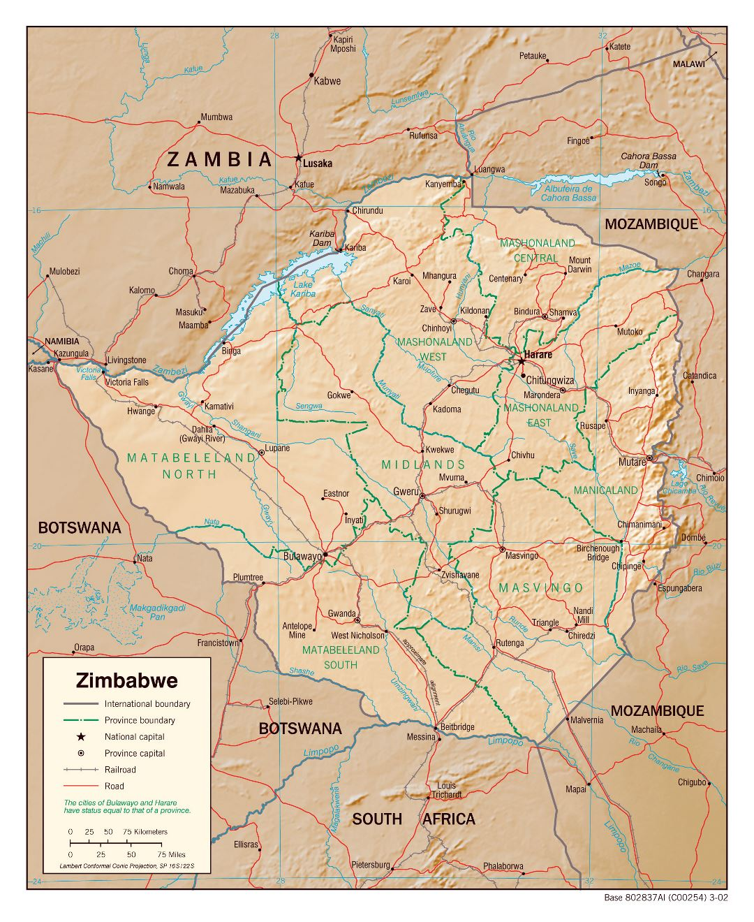 Large political and administrative map of Zimbabwe with relief, roads, railroads and major cities - 2002