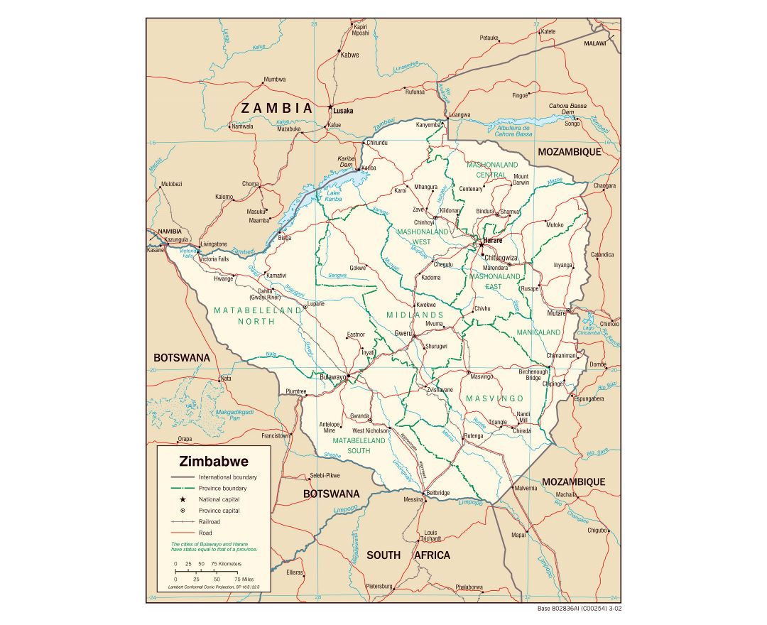 Maps of Zimbabwe Detailed map of Zimbabwe in English Tourist map