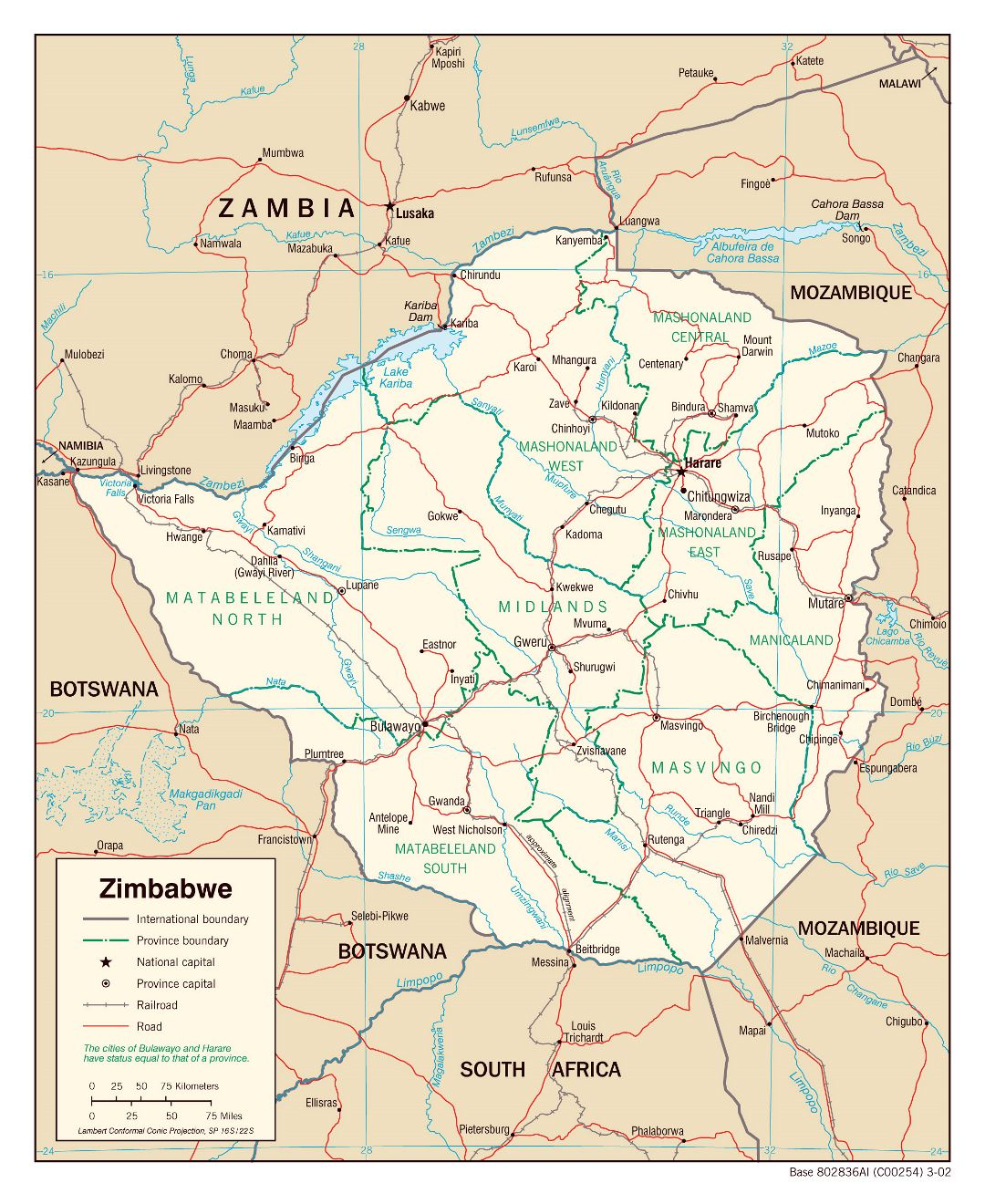 Large political and administrative map of Zimbabwe with roads, railroads and major cities - 2002