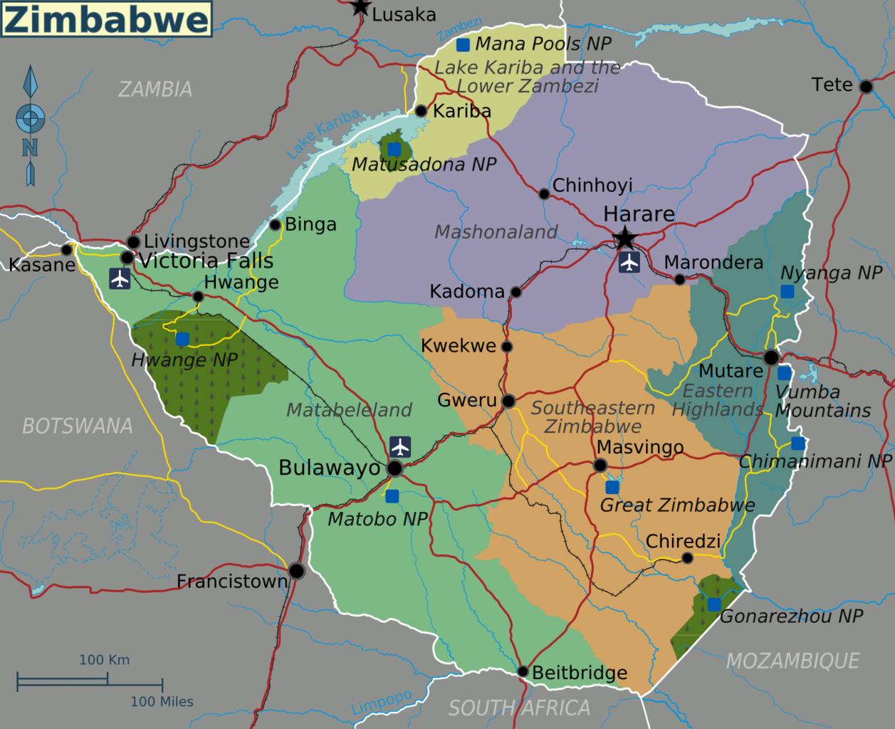 Map Of Africa Zimbabwe.Large Regions Map Of Zimbabwe Zimbabwe Africa Mapsland Maps