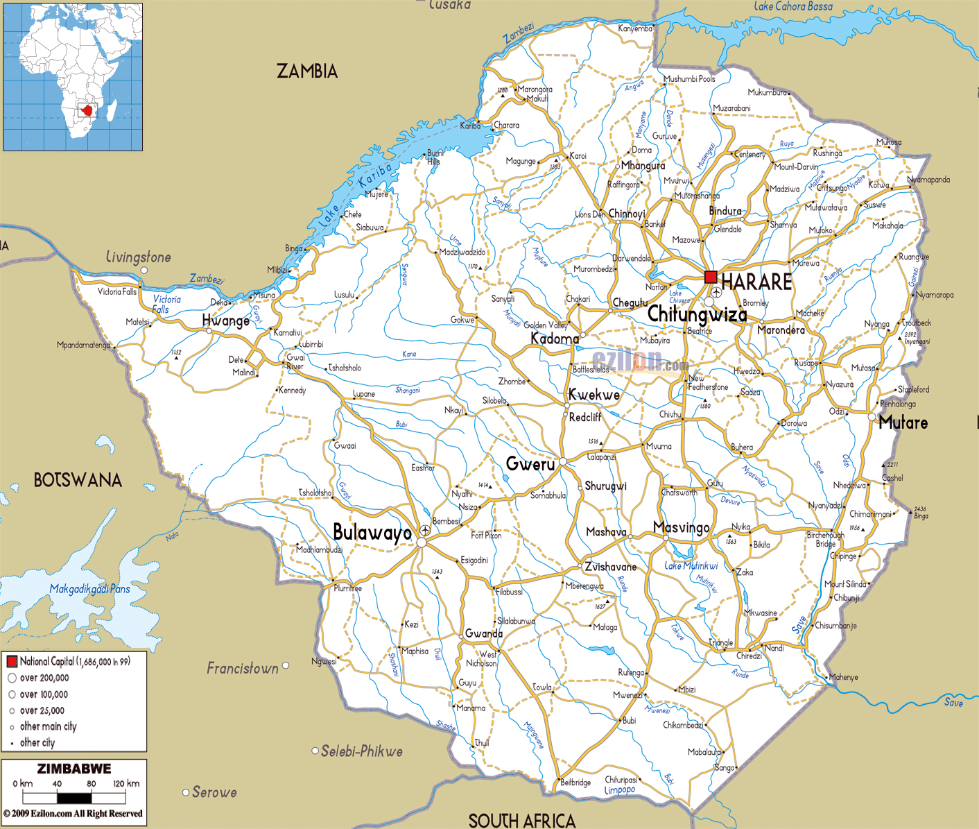 Large road map of zimbabwe with cities and airports zimbabwe large road map of zimbabwe with cities and airports gumiabroncs Images