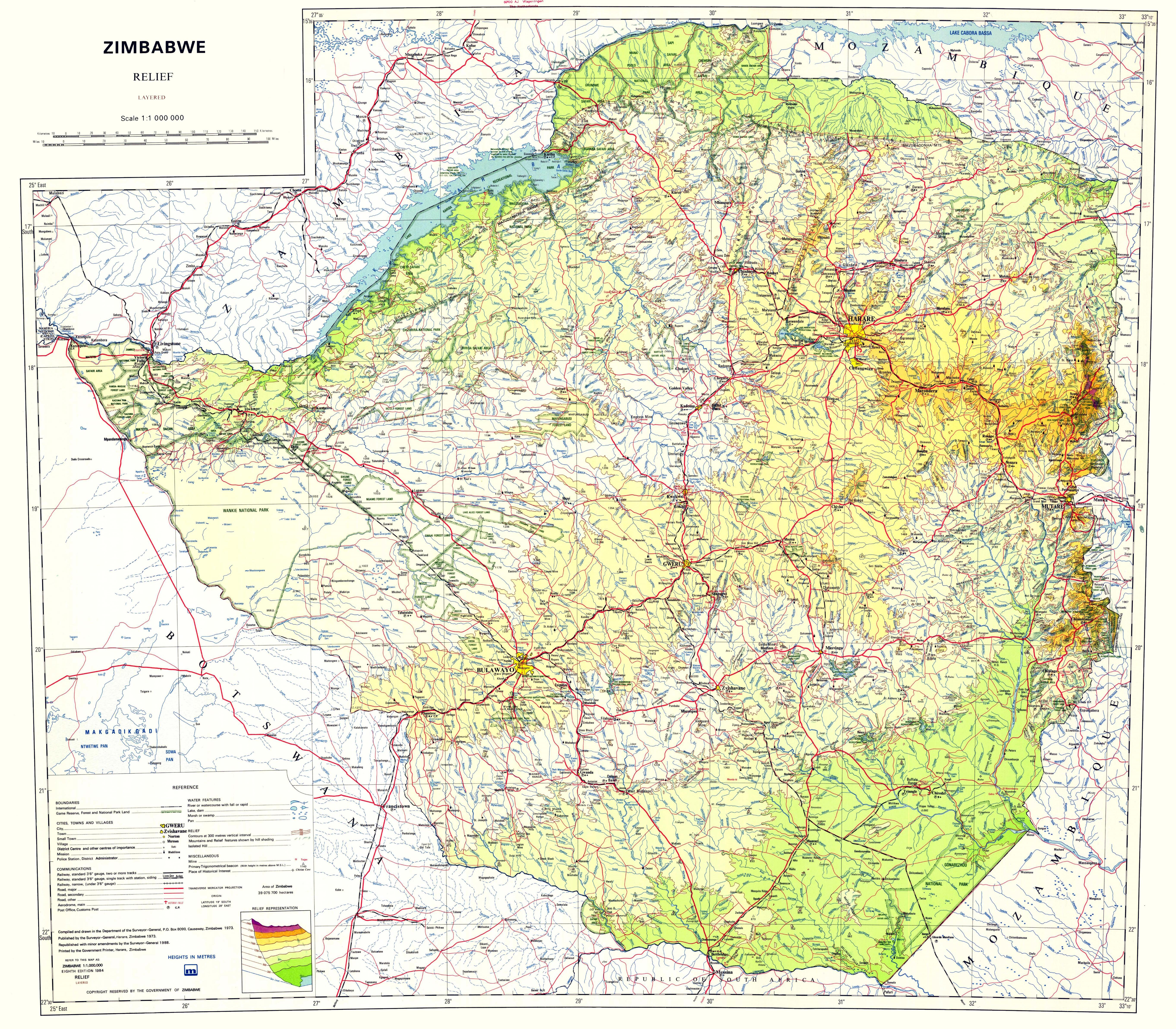Large scale relief map of Zimbabwe with other marks | Zimbabwe ...