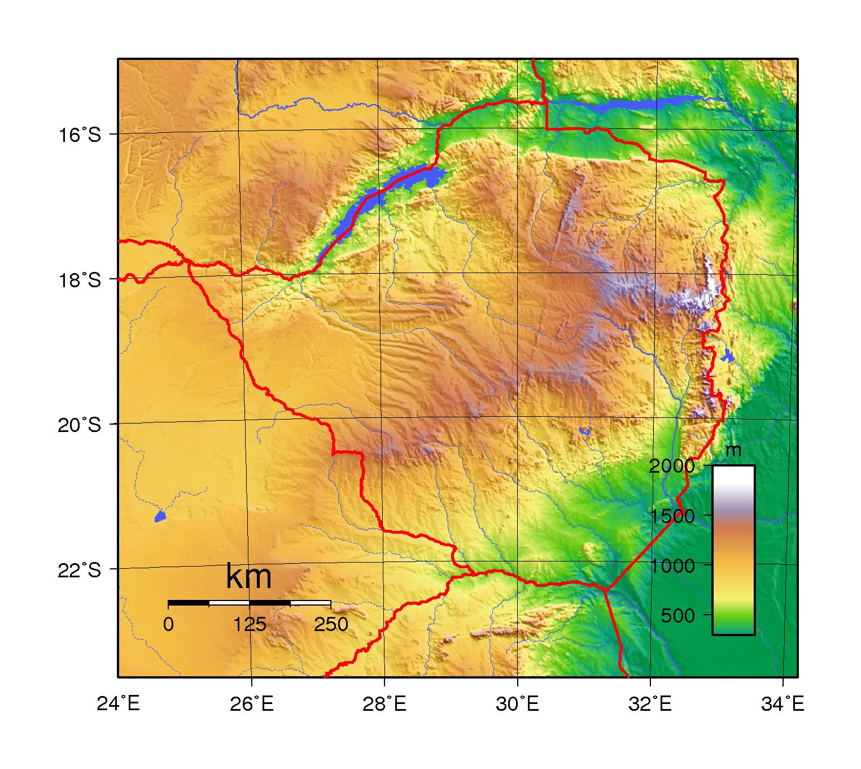 Large topographical map of Zimbabwe | Zimbabwe | Africa | Mapsland ...