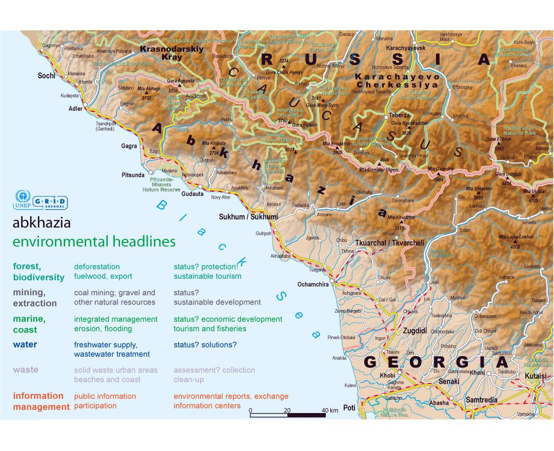 Maps of Abkhazia Detailed map of Abkhazia in English and Russian
