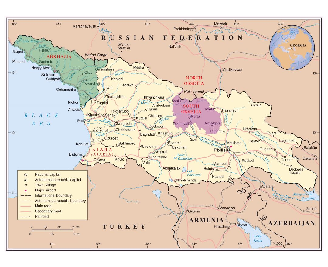 Large detailed political map of Georgia, Abkhazia and South Ossetia with roads, railroads, cities and airports