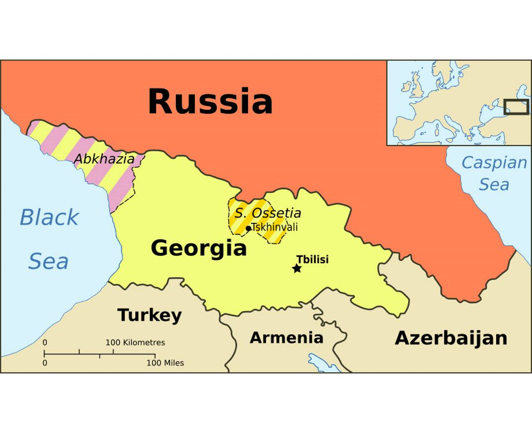 Political map of Abkhazia, Georgia and South Ossetia