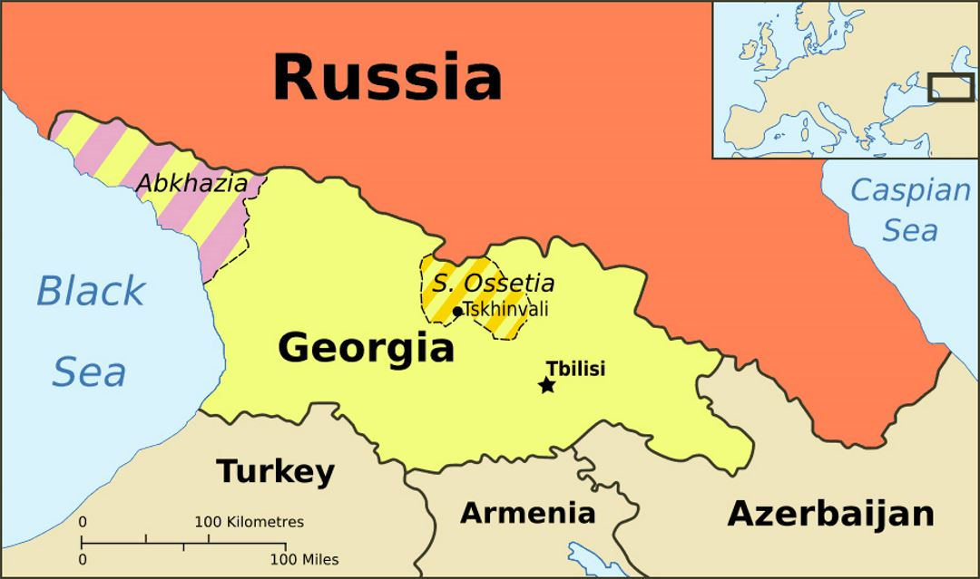 Political Map Of Abkhazia Georgia And South Ossetia Abkhazia - Georgia map asia