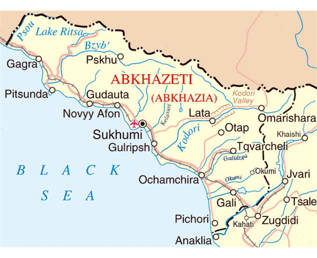 Small map of Abkhazia with roads, railroads, cities and airports