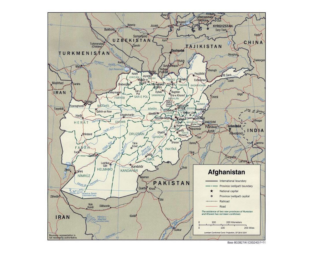 Detailed political and administrative map of Afghanistan - 2001