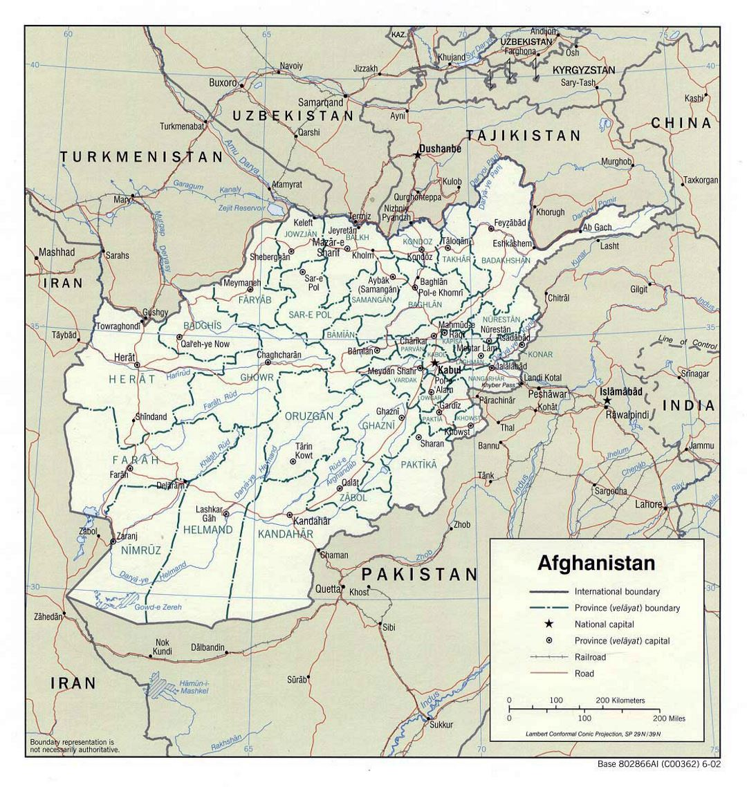 Detailed political and administrative map of Afghanistan - 2002