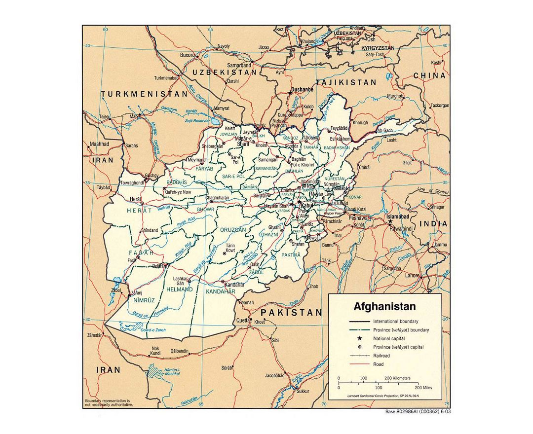 Detailed political and administrative map of Afghanistan - 2003