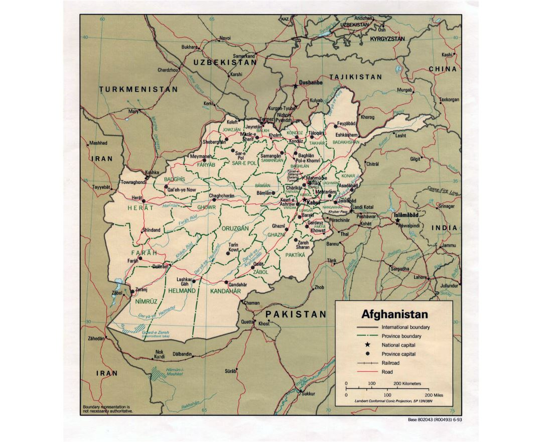 Detailed political and administrative map of Afghanistan with major cities and roads - 1993