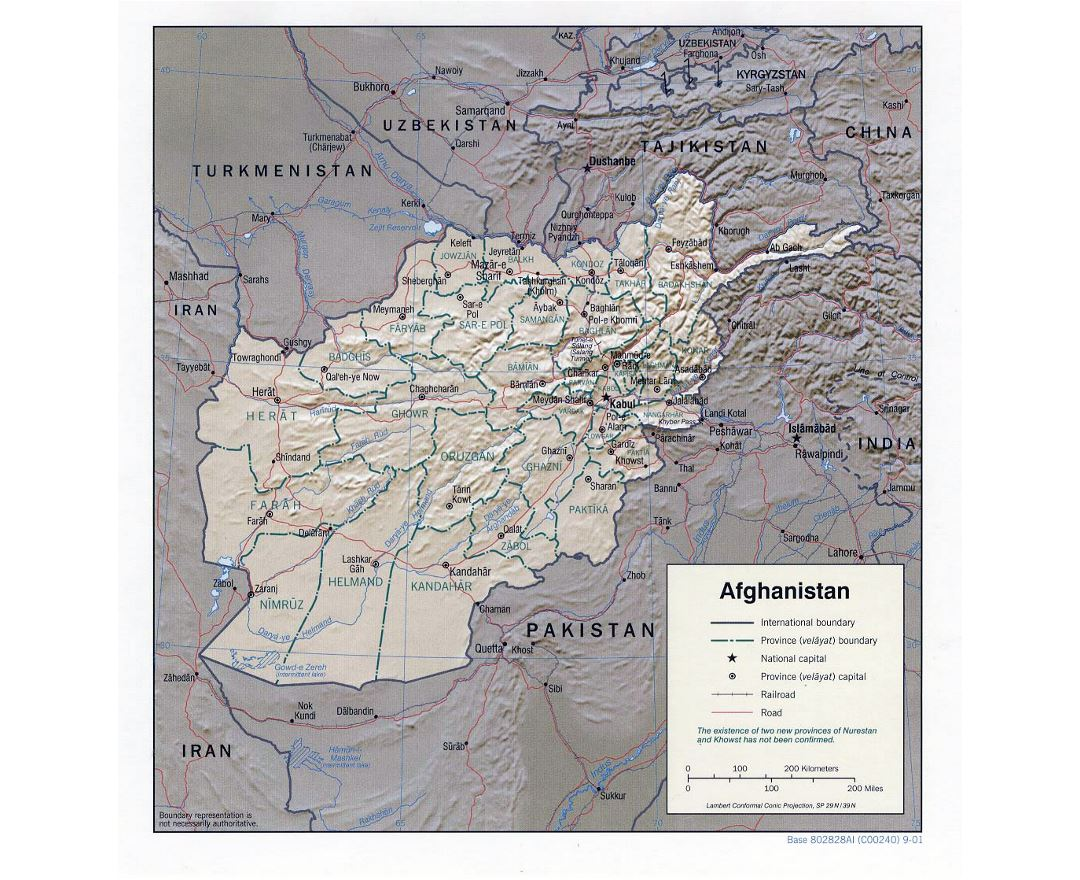 Detailed political and administrative map of Afghanistan with relief - 2001