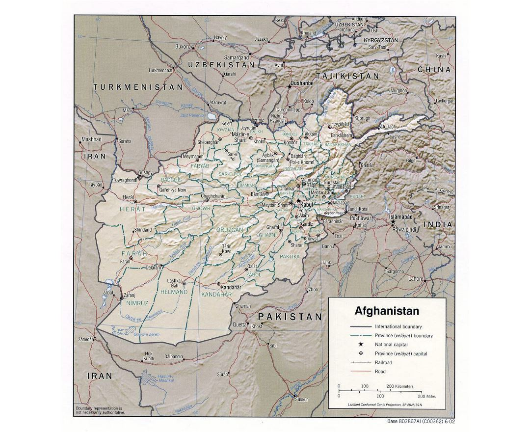 Detailed political and administrative map of Afghanistan with relief - 2002
