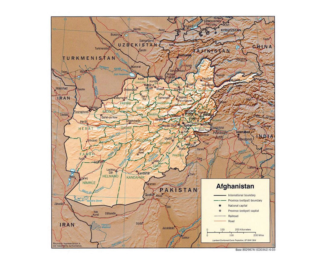 Detailed political and administrative map of Afghanistan with relief - 2003