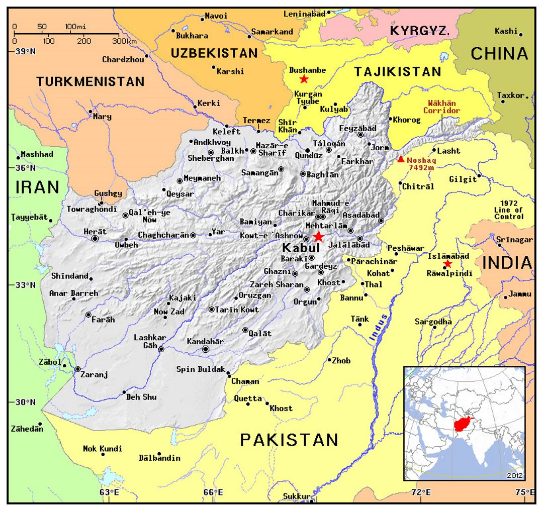 Detailed political map of Afghanistan with relief