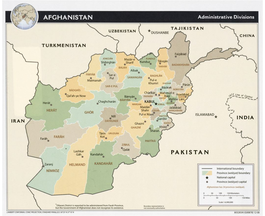Large administrative divisions map of Afghanistan - 2008