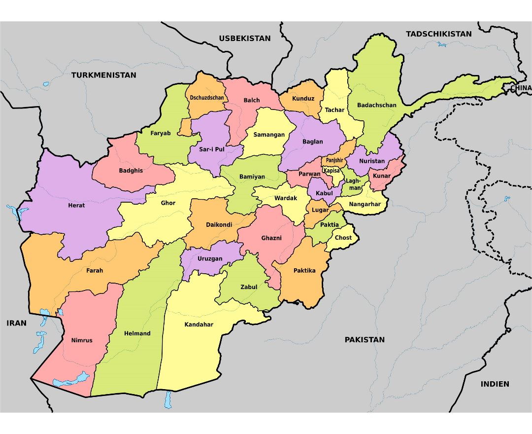 Large administrative map of Afghanistan