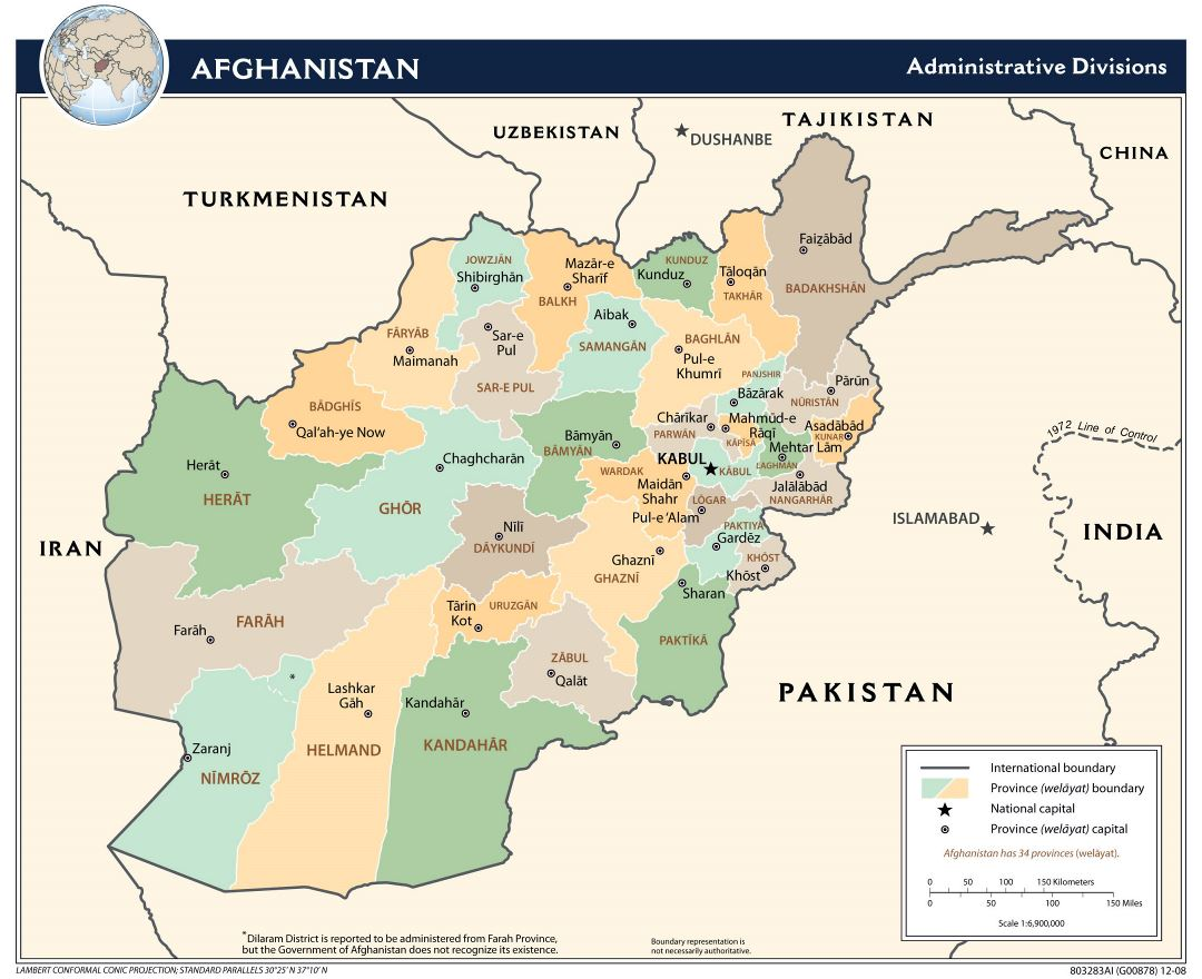 Large detailed administrative divisions map of Afghanistan - 2009