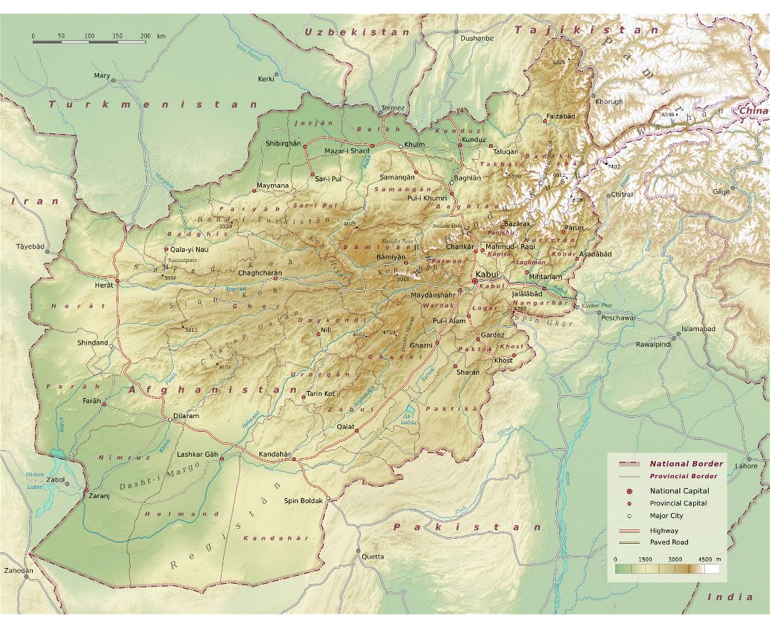 Large detailed physical map of Afghanistan with roads, highways and major cities
