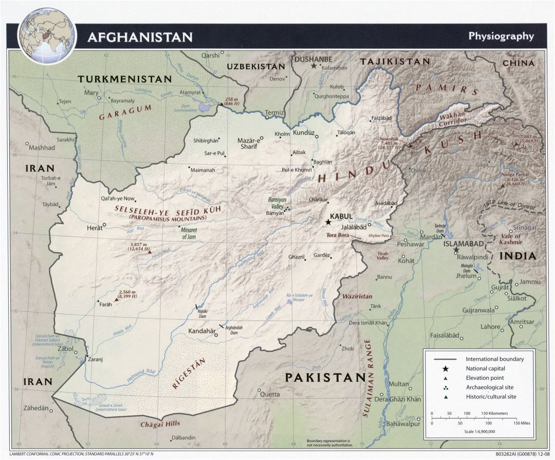 Large detailed physiography map of Afghanistan - 2008