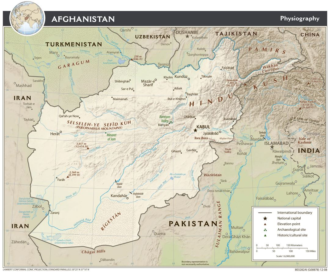 Large detailed physiography map of Afghanistan - 2009
