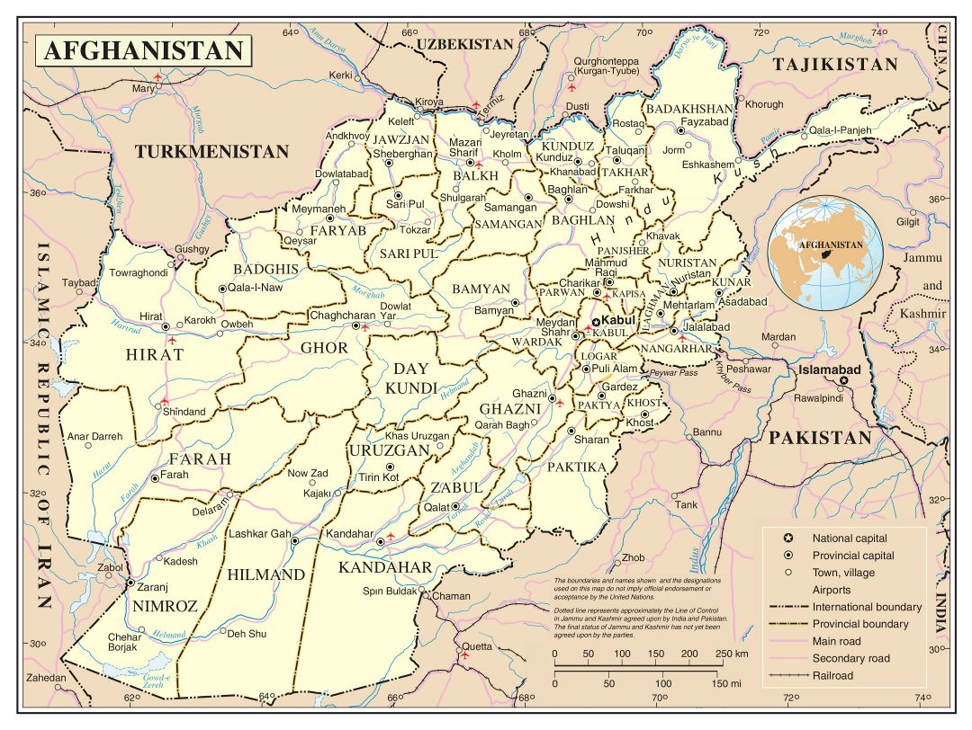 Large detailed political and administrative map of Afghanistan with roads cities and airports