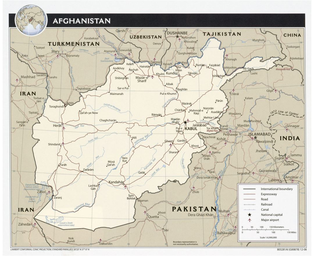 Large detailed political map of Afghanistan - 2008