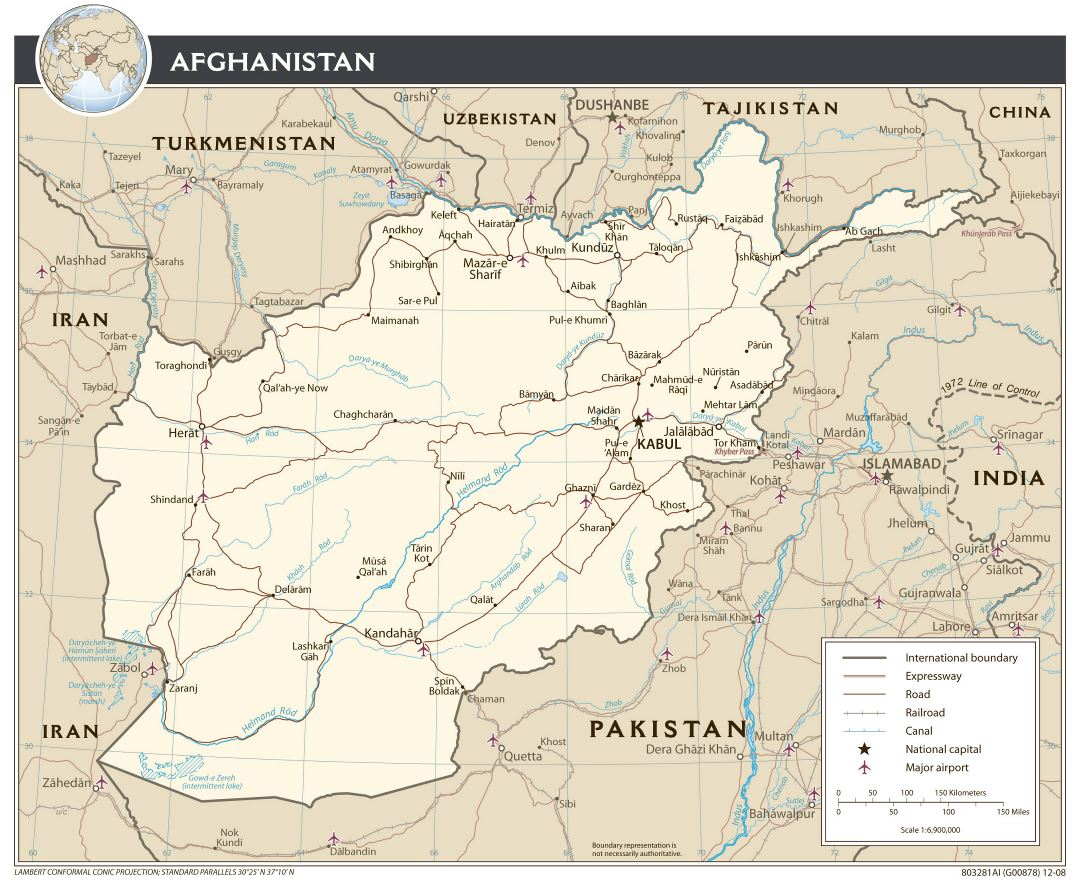 Large detailed political map of Afghanistan with roads ,airports and major cities - 2008