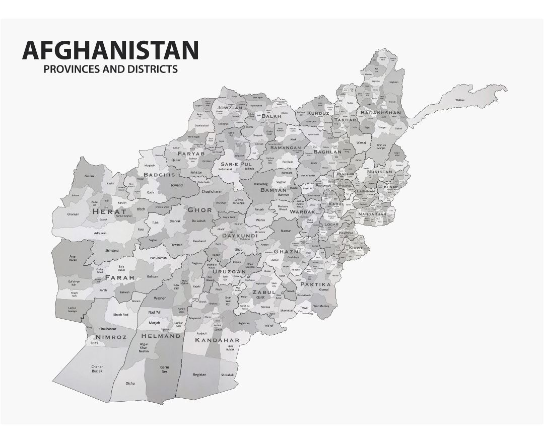 Large detailed provinces and districts map of Afghanistan