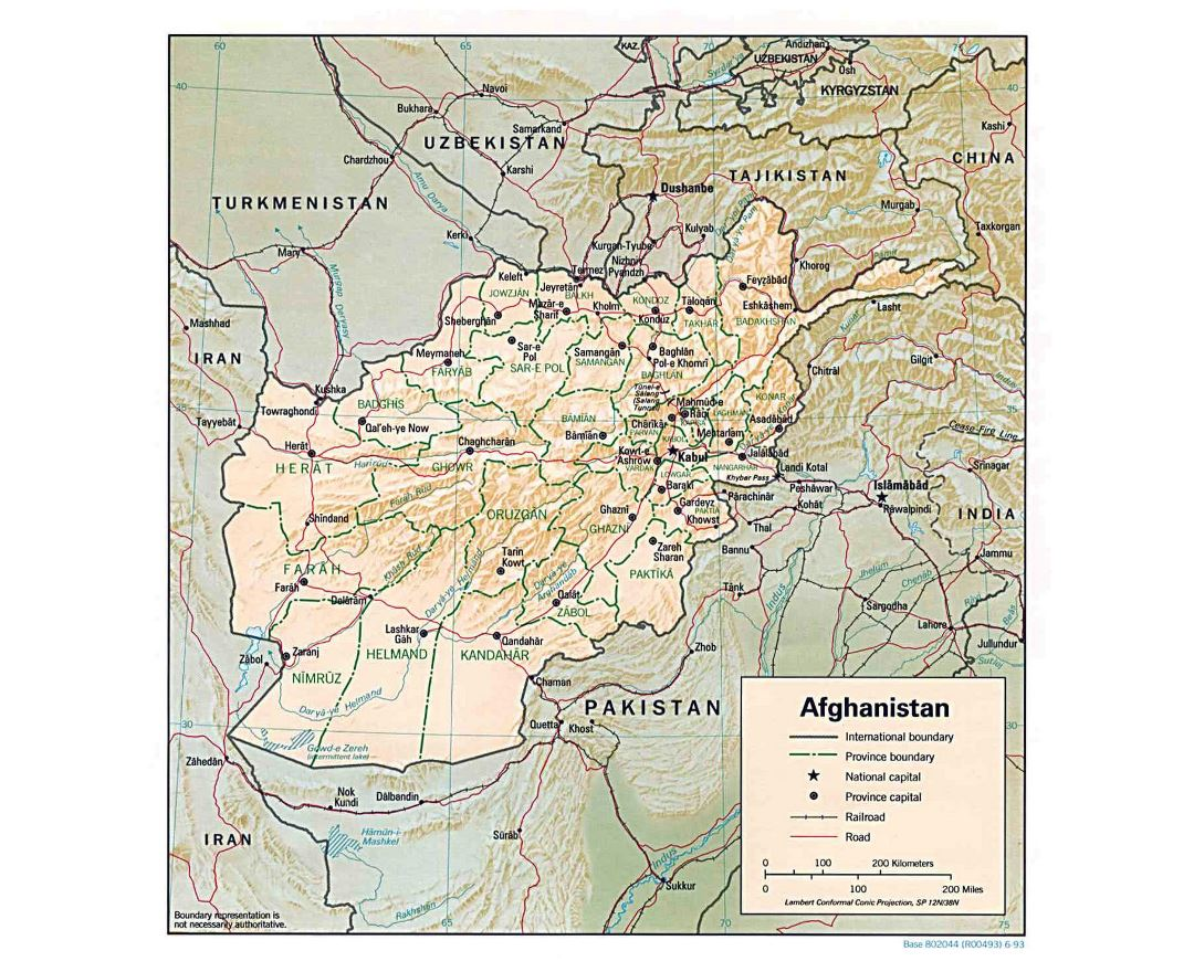 Large political and administrative map of Afghanistan with relief, major cities and roads - 1993